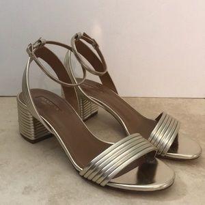 Aquazurra gold silver block heel sandal 36.5
